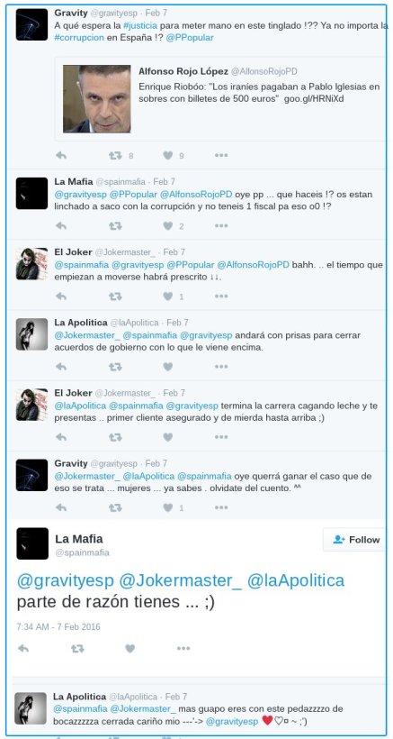 Conversación ficticia sobre un tweet de AlfonsoRojo
